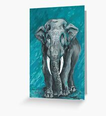 Painted Elephant - one Greeting Card
