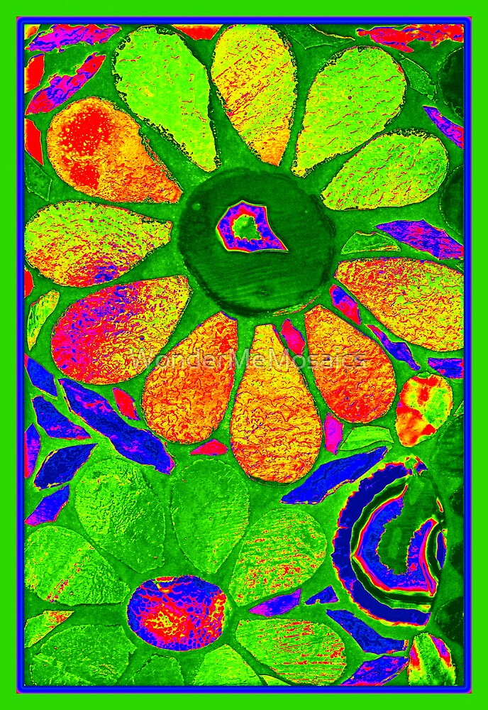 Watercolor Stained Glass Garden - Mosaic Art by WonderMeMosaics