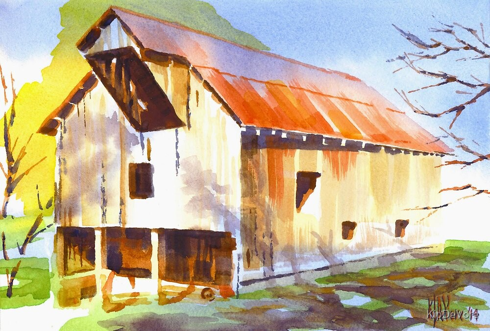 Missouri Barn in Watercolor by KipDeVore