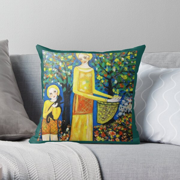 Picking loquats   Throw Pillow
