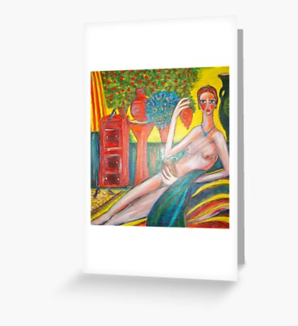 Lady in the Sunroom. Greeting Card