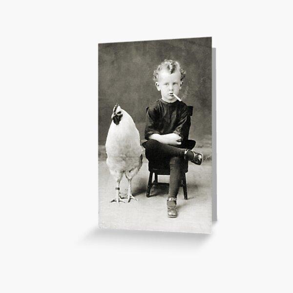 Smoking Child - black / white Greeting Card