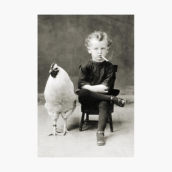 Smoking Child - black / white Photographic Print