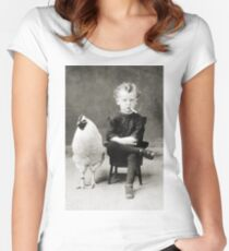 Smoking Child - black/white Women's Fitted Scoop T-Shirt