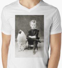 Smoking Child - black / white V-Neck T-Shirt
