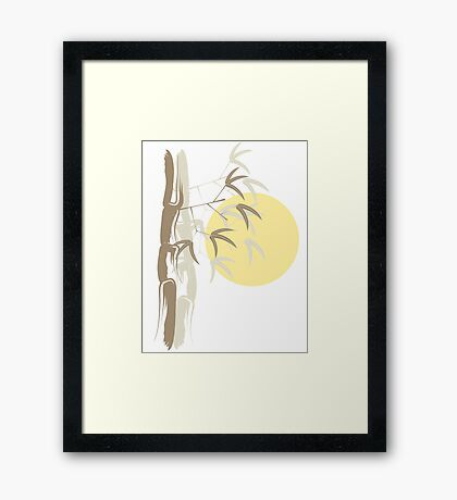 Oriental Zen Bamboo And Yellow Sunrise Framed Print