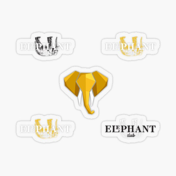 Sticker pack our company colours yellow black white ELEPHANT CLUB GDAŃSK  Transparent Sticker