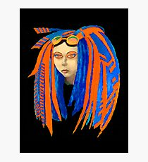 Cybergoth Girl in Contrasting Blue and Orange Photographic Print
