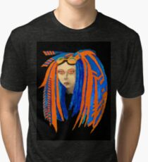 Cybergoth Girl in Contrasting Blue and Orange Tri-blend T-Shirt