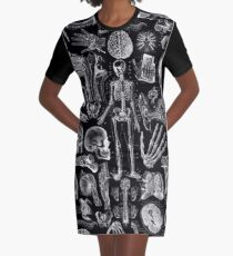 Human Anatomy Black Print Graphic T-Shirt Dress