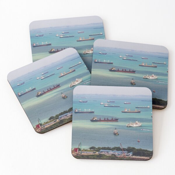Vessels Anchoring in Front of Singapore City Coasters (Set of 4)