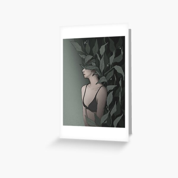 Wallflower - Female Figure Disguised by Wild Leaves  - Digital Illustration by MadliArt Greeting Card