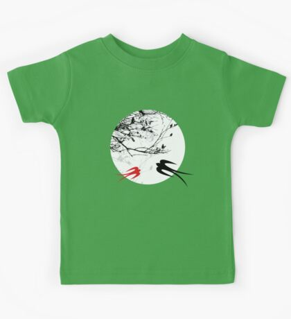 Oriental Swallows In Moonlight  Kids Clothes