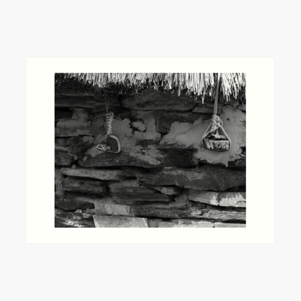 Thatch Ties in Glencolmcille Donegal Ireland bw Art Print