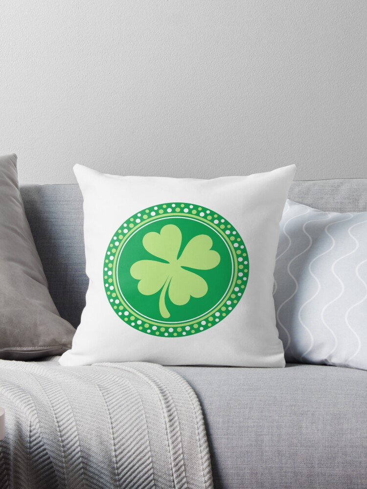 Round four leaf clover emblem St Patrick's day design by Mhea