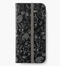 Cat Party (White on Black) iPhone Wallet