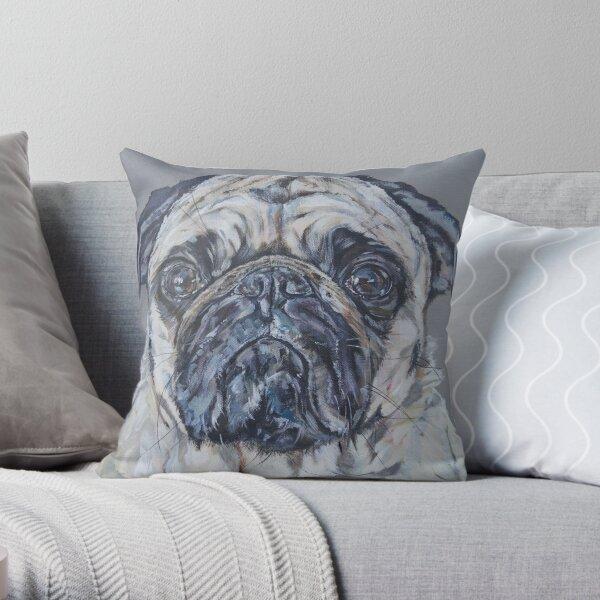 Reggie. Pug dog painting art by award-winning UK artist Sam Fenner Throw Pillow
