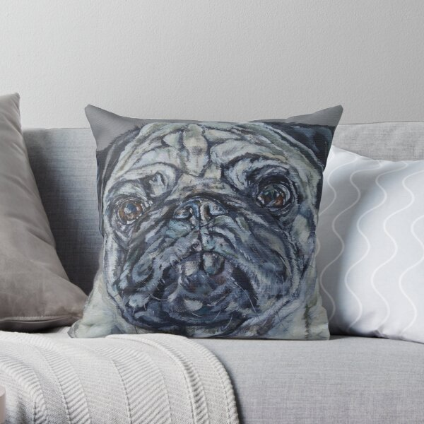 Ronnie. Pug dog painting art by award-winning UK artist Sam Fenner Throw Pillow