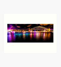 Purple, Aqua & Gold - Sydney Harbour Bridge Art Print