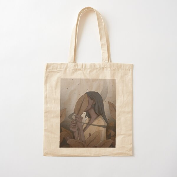 Pretty Dreamy Black Girl Surrounded by Yellow Plant Leaves - Digital Illustration by MadliArt Cotton Tote Bag
