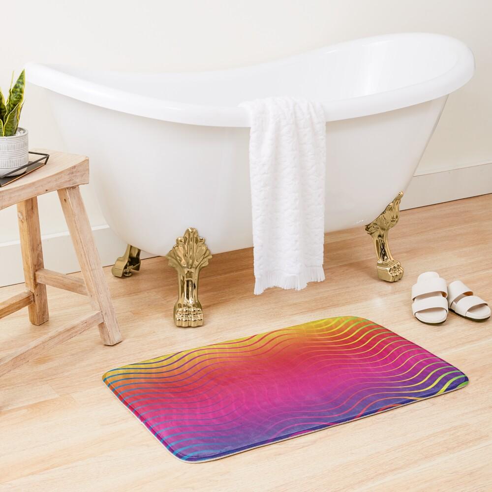 Rippled Rainbow Waves Bath Mat