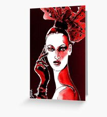 Fierce Lady in Red Greeting Card