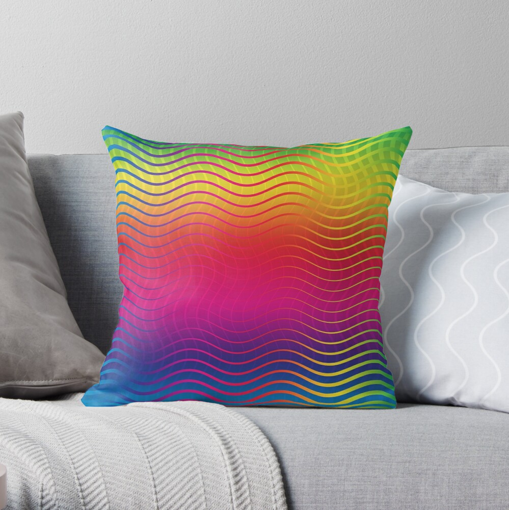 Rippled Rainbow Waves Throw Pillow