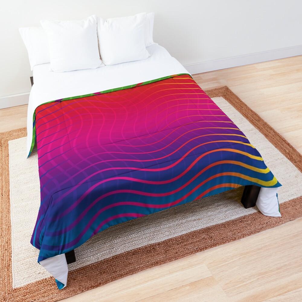 Rippled Rainbow Waves Comforter