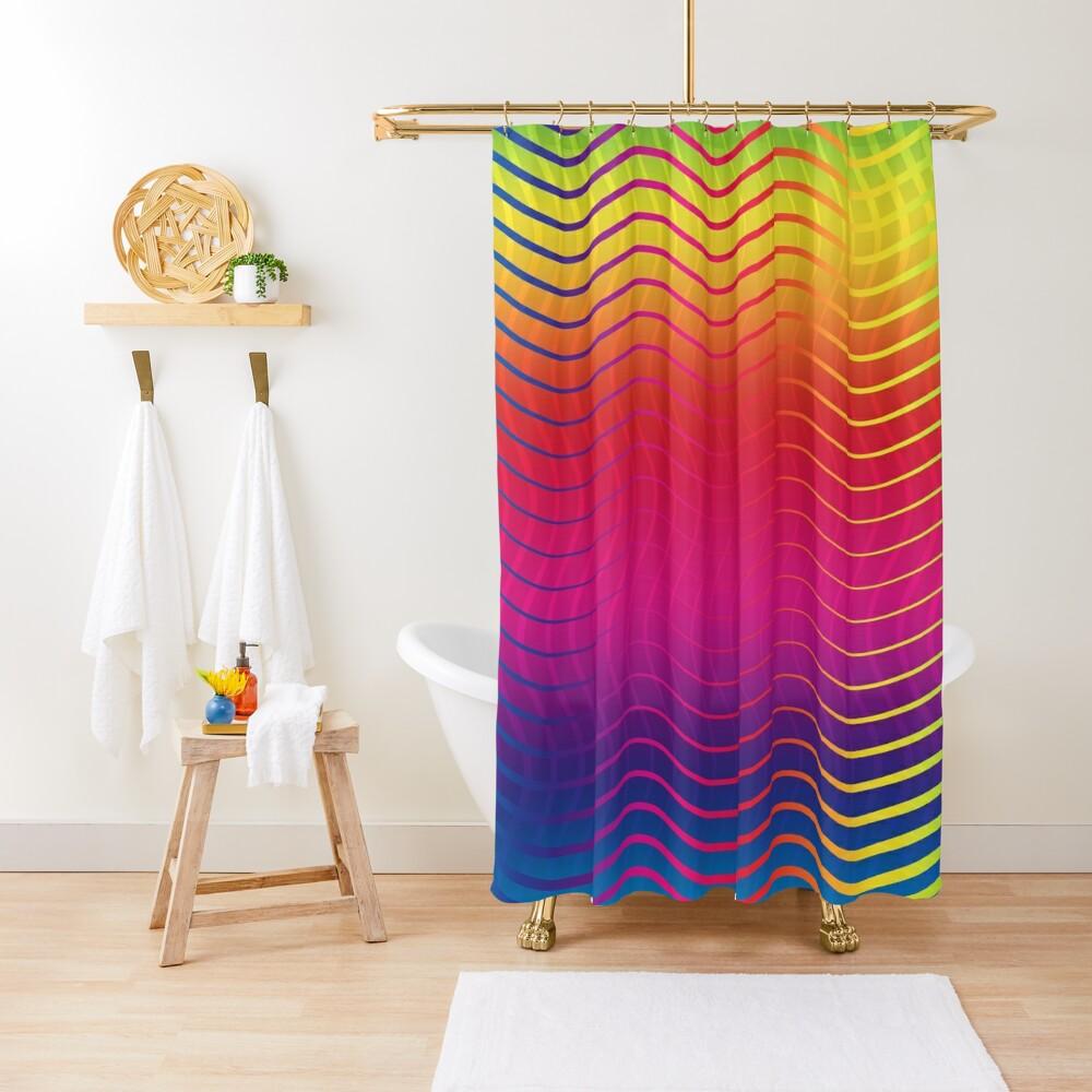 Rippled Rainbow Waves Shower Curtain