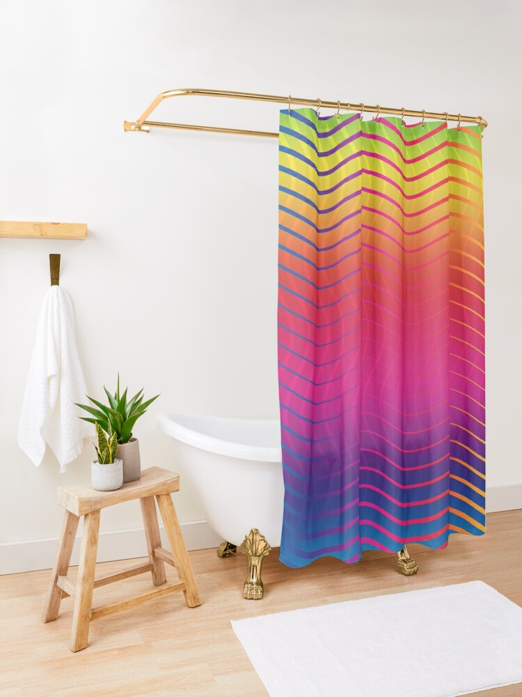 Alternate view of Rippled Rainbow Waves Shower Curtain