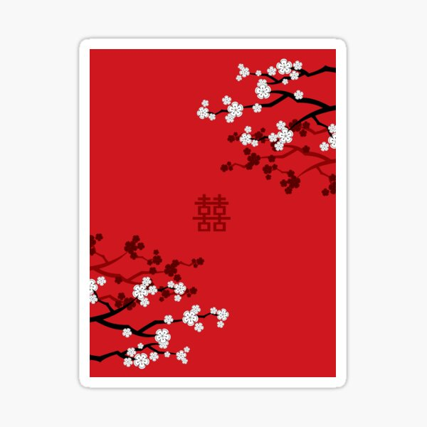 White Oriental Cherry Blossoms on Red and Chinese Wedding Double Happiness | Japanese Sakura © fatfatin  Sticker