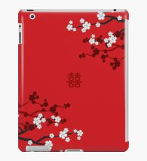 White Oriental Cherry Blossoms on Red and Chinese Wedding Double Happiness | Japanese Sakura  iPad Case/Skin
