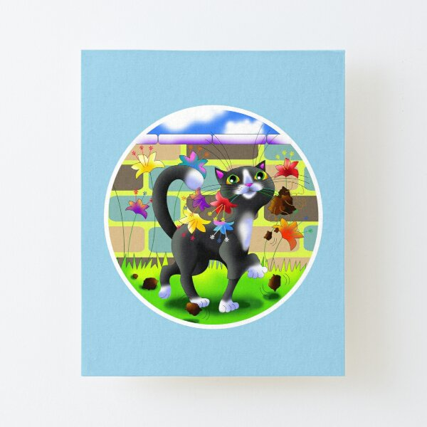 Cat in the garden with flowers, cute cartoon feline character Canvas Mounted Print