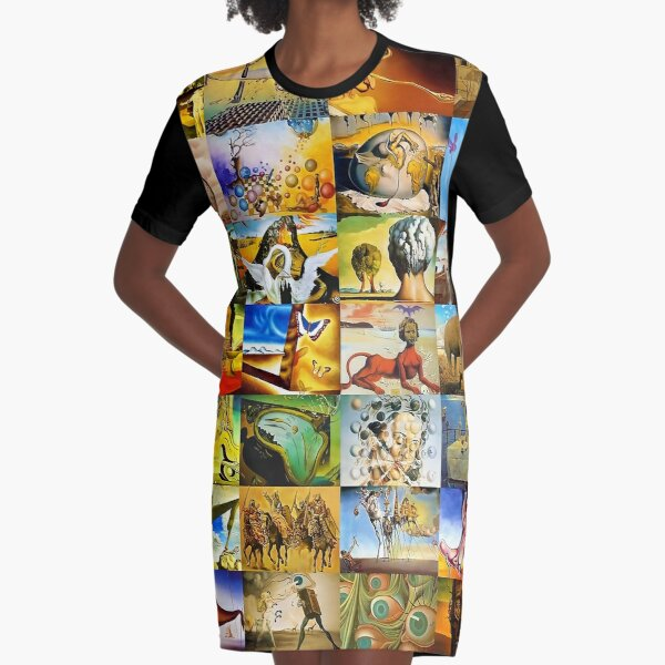 A Collage Of Salvador Dali Graphic T-Shirt Dress