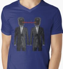 Twin Grey Scale Talking Mikes Men's V-Neck T-Shirt