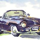 1955 Ford Thunderbird in Watercolor by KipDeVore
