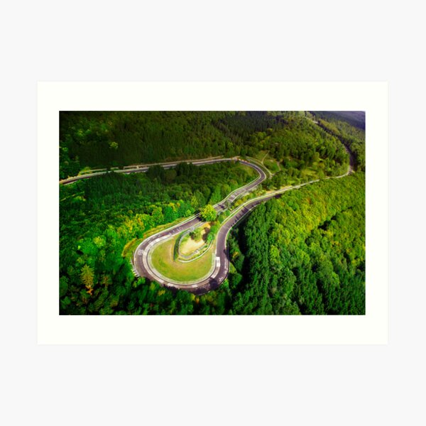 Aerial shot of the Nürburgring Nordschleife Caracciolla Karussell Art Print