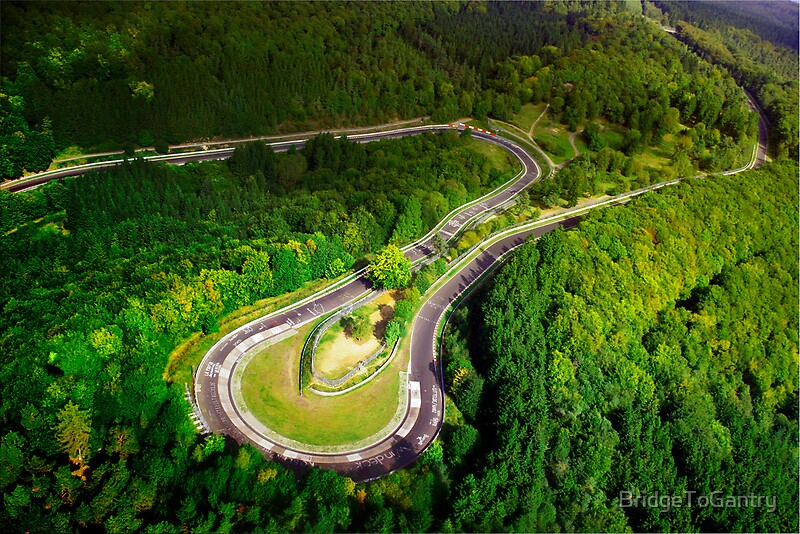 """""""Aerial shot of the Nürburgring Nordschleife Caracciolla Karussell"""" Posters by BridgeToGantry ..."""