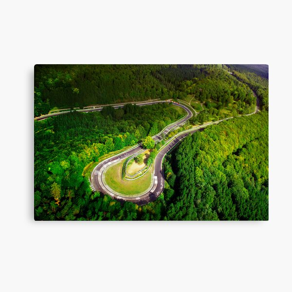 Aerial shot of the Nürburgring Nordschleife Caracciolla Karussell Canvas Print