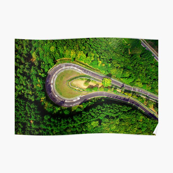 Aerial shot #2 of the Nürburgring Nordschleife Caracciola Karussell Poster
