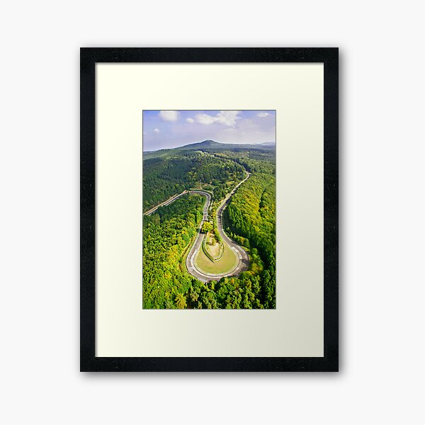 Aerial shot #3 of the Nürburgring Nordschleife Caracciola Karussell Framed Art Print