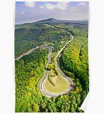 Aerial shot #3 of the Nürburgring Nordschleife Caracciola Karussell Poster