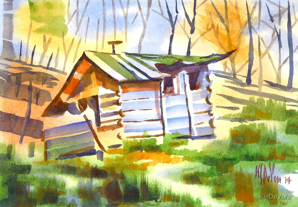Log Cabin in the Wilderness by KipDeVore