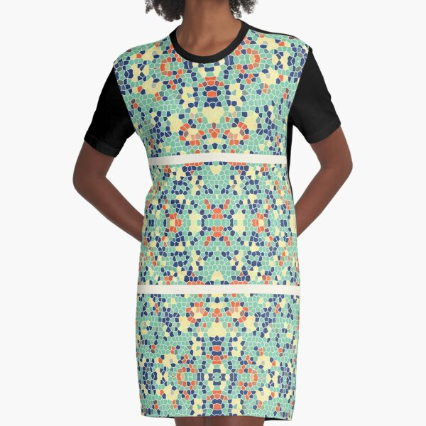 Colorful Blue Green Orange Abstract Funky Mosaic Graphic T-Shirt Dress