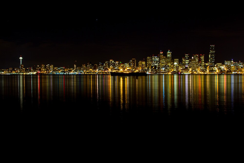 Seattle skyline at night by RandyHume