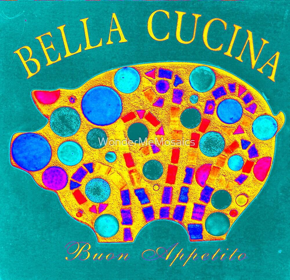 Turquoise Mosaic Pig - Buon Appetito by WonderMeMosaics