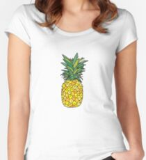 cute pineapple fruit Women's Fitted Scoop T-Shirt