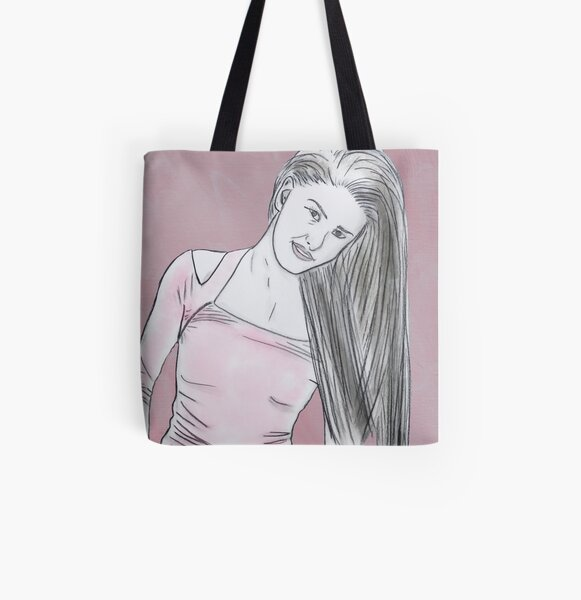 Casual Woman Standing with hands in jean pockets All Over Print Tote Bag