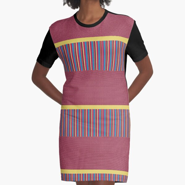Polka Dots Stripes Funky Pink Blue Red Yellow Pattern Graphic T-Shirt Dress
