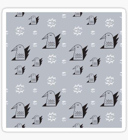Birds and eyes steel blue Sticker